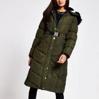 RIVER ISLAND Khaki longline belted puffer coat ~ green padded winter coats