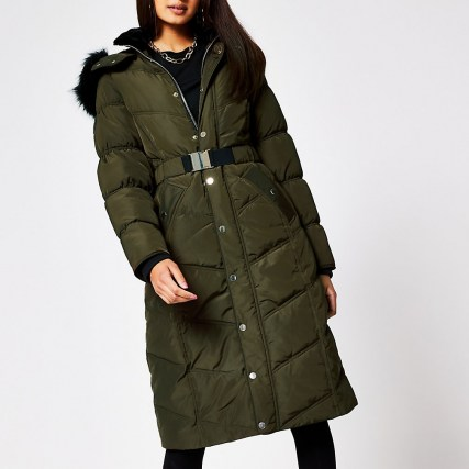RIVER ISLAND Khaki longline belted puffer coat ~ green padded winter coats - flipped
