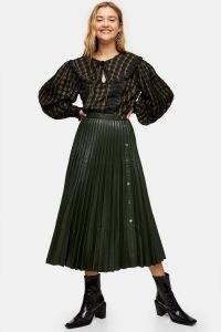 TOPSHOP Khaki Pleated PU Button Down Midi Skirt ~ dark green skirts