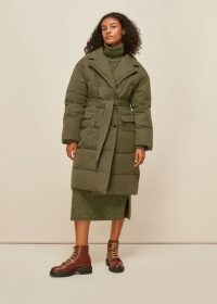 WHISTLES TRENCH PUFFER COAT KHAKI / padded green coats / winter outerwear