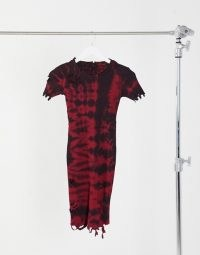 Kikiriki high ribbed bodycon dress in tie-dye with distressing / fitted distressed dresses