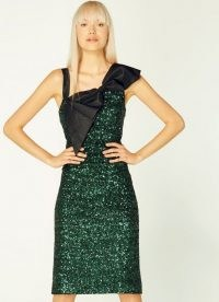 L.K. BENNETT KITT GREEN SEQUIN BOW DETAIL DRESS / sequinned party dresses