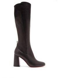 CHRISTIAN LOUBOUTIN Kronobotte 85 leather knee boots / black block heel boot