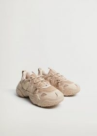 MANGO ACTOR1 Lace-up panel sneakers in Sand