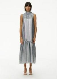 Tibi Lamé Dropwaist Dress ~ glamorous luxe metallic silver dresses