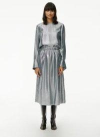 Tibi Lamé Smocking Waistband Full Skirt ~ metallic silver skirts