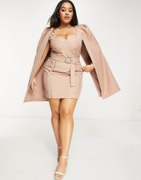 Lavish Alice Plus cape dress in mink | plus size party dresses | going out fashion