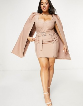 Lavish Alice Plus cape dress in mink | plus size party dresses | going out fashion - flipped