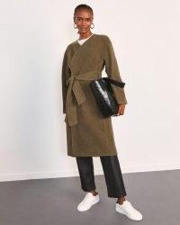 JIGSAW LEITH DOUBLE FACE WRAP COAT DARK KHAKI / chic winter self tie coats
