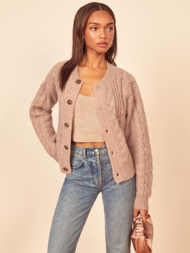 Reformation Lemartine Cable Knit Cardigan | blush round neck cardigans - flipped