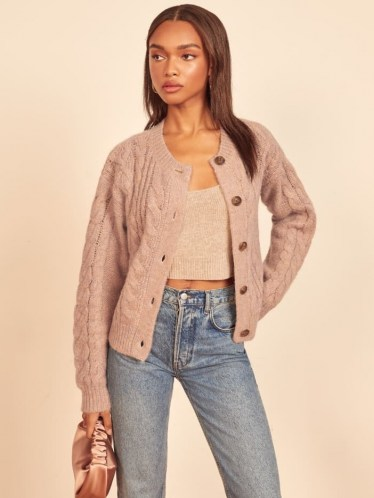 Reformation Lemartine Cable Knit Cardigan | blush round neck cardigans