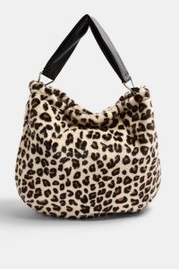 Topshop Leopard Print Faux Fur Hobo Bag | fluffy bags | wild animal prints