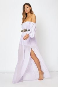 In The Style LILAC BARDOT WESTERN BELTED SPLIT FRONT MAXI DRESS ~ part sheer off the shoulder dresses