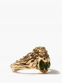 GUCCI Lion-head diamond, 18kt gold & diopside ring / animal themed jewellery / green stone rings / lions