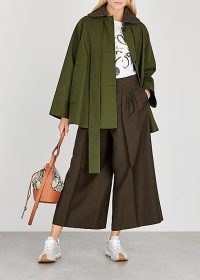 LOEWE Army green cotton-twill jacket / cape style jackets / chic outerwear