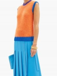 VALENTINO Logo-embroidered ribbed mohair-blend tank top – colour block knitted tanks – bright orange soft knit tops