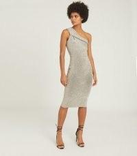REISS LORDES METALLIC BODYCON DRESS SILVER ~ one shoulder event dresses