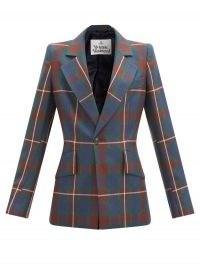 VIVIENNE WESTWOOD Lou Lou tartan-checked blazer / blue check print jackets