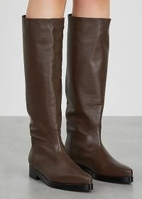 LOW CLASSIC Western brown leather knee-high boots / low heel winter footwear