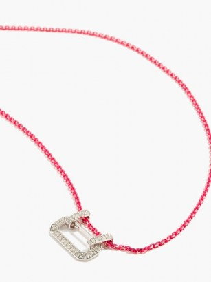 EÉRA Lucy diamond & 18kt white-gold necklace – vibrant pink necklaces – pendant necklaces – bright luxe jewellery - flipped