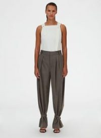 Tibi Luka Suiting Stella Pleat Pant ~ brown ankle tie trousers