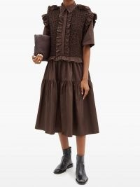 CECILIE BAHNSEN Lydia smocked ruffled cotton-poplin shirt dress in brown ~ pretty ruffle trim dresses