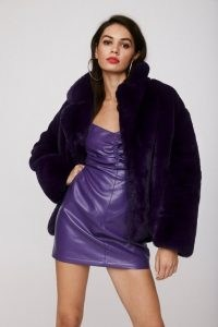 NASTY GAL Magic Touch Faux Fur Jacket ~ purple winter jackets