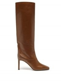 JIMMY CHOO Mahesa 85 knee-high brown-leather boots