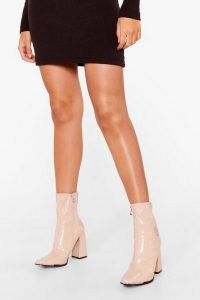 NASTY GAL Make Your Point Patent Faux Leather Sock Boots