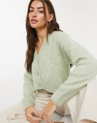 Mango floral embroidered twinset cardigan in sage green ~ cropped cardigans