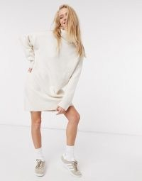 Mango roll neck knitted jumper dress in beige – chic look
