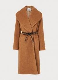 LK BENNETT MANON CAMEL WOOL-BLEND SHAWL COLLAR COAT / classic brown wide collar winter coats