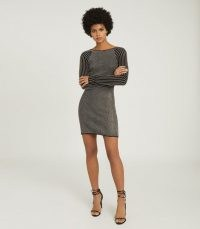 REISS MARINA METALLIC KNITTED BODYCON DRESS ~ evening knits ~ shimmering dresses