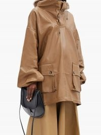 PETAR PETROV Marjan hooded longline leather jacket / camel-brown oversized hooded jackets / pullover tunic style outerwear