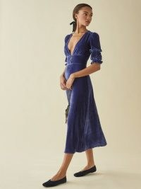 Reformation Maura Dress | blue velvet plunge front dresses