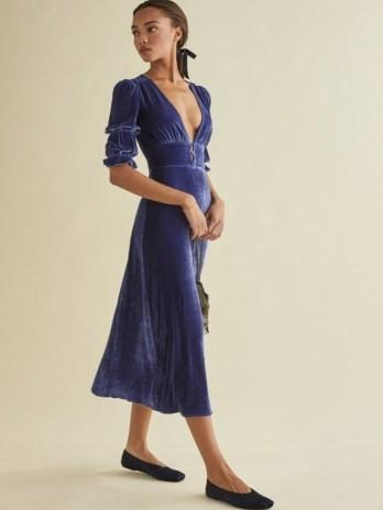 Reformation Maura Dress | blue velvet plunge front dresses - flipped