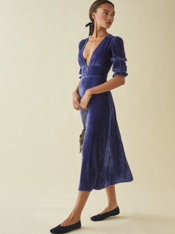 Reformation Maura Dress | blue velvet plunge front dresses