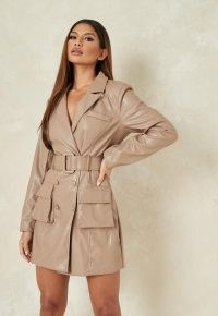 MISSGUIDED mauve faux leather belted blazer dress ~ jacket dresses