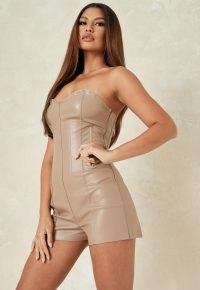 MISSGUIDED mauve faux leather corset fit playsuit ~ fitted strapless playsuits ~ going out fashion