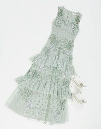 Maya lace embellished ruffle hem maxi dress in sage green | ruffled party dresses | tiered detail occasion fashion