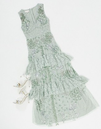 Maya lace embellished ruffle hem maxi dress in sage green | ruffled party dresses | tiered detail occasion fashion - flipped