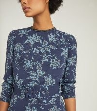 REISS MELODY PRINTED DRESS WITH EMBELLISHMENT DETAIL BLUE / necklace effect necklines / floral dresses