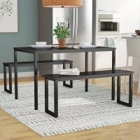 Winterton Dining Set with 2 Benches by Mercury Row – perfect pick for apartments and breakfast nooks