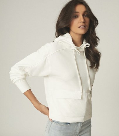 REISS MERCY FABRIC MIX HOODIE WHITE / weekend casual tops / pullover hoodies - flipped