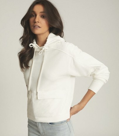 REISS MERCY FABRIC MIX HOODIE WHITE / weekend casual tops / pullover hoodies