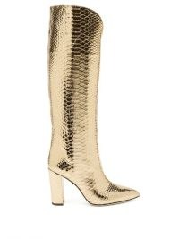 PARIS TEXAS Metallic knee-high python-effect leather boots ~ gold snake embossed boot
