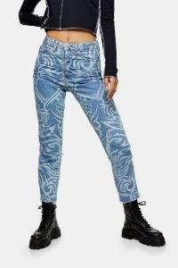 Topshop Mid Blue Lazer Print Straight Jeans | printed denim