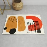 Mid Century Modern Abstract Minimalist Retro Vintage Style Fun Playful Ochre Yellow Ochre Orange Rug by EnShape – statement rug for your home