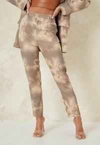 MISSGUIDED mocha co ord tie dye pinstripe cigarette trousers