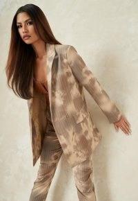 MISSGUIDED mocha co ord tie dye pinstripe longline tailored blazer ~ neutral blazers